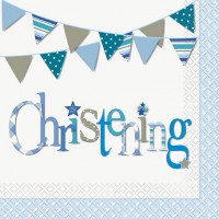 Christening Blue Luncheon Napkins 16CT.