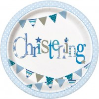 "Christening Blue 9"" Plates 8CT."