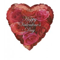 "Heart Shaped Happy Valentines Day With Roses 18"" Foil Balloon"
