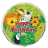"Happy Birthday Jungle Theme 18"" Foil Balloon"