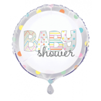 "Baby Shower Sliver,White and Mutli Coloured x5 18"" Foil Balloons"