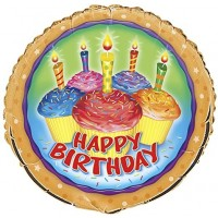 """Happy Birthday Cupcakes and Candles 18"""" Foil Balloon"""