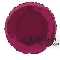 "Burgundy - Round Shape - 18"" foil balloon (Pack of 12, Flat)"