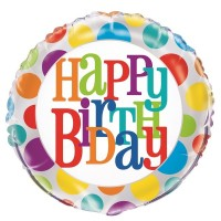 "Happy Birthday - Rainbow Dots - 18"" Foil Balloon"