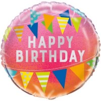 "Happy Birthday Bunting - 18"" Foil Balloon"