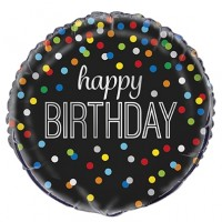 "Happy Birthday Colourful Dots 18"" Foil Balloon"