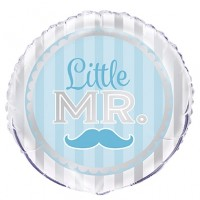 "Blue and Silver Little Mr 18"" Foil Balloon"
