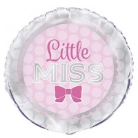 "Pink and Silver Little Miss 18"" Foil Balloon"