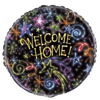 "Welcome Home Neon Shapes x5 18"" Foil Balloons"