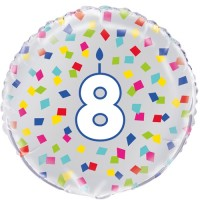 "Age 8 - Silver and Multi-Coloured Confetti 18"" Foil Balloon"