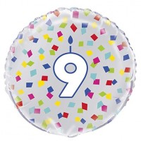"Age 9 - Silver and Multi-Coloured Confetti 18"" Foil Balloon"