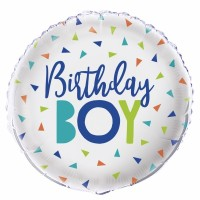 "Birthday Boy Sliver and Multi Coloured Triangles 18"" Foil Balloon"