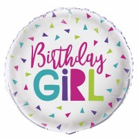 "Birthday Girl Sliver and Multi Coloured Triangles 18"" Foil Balloon"