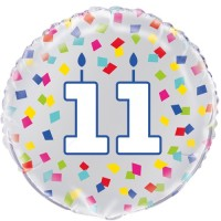 "Age 11 - Silver and Multi-Coloured Confetti 18"" Foil Balloon"
