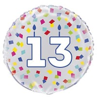 "Age 13 - Silver and Multi-Coloured Confetti 18"" Foil Balloon"