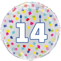 "Age 14 - Silver and Multi-Coloured Confetti 18"" Foil Balloon"