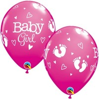 "BABY GIRL FOOTPRINTS & HEARTS 11"" ROSE (25CT)"