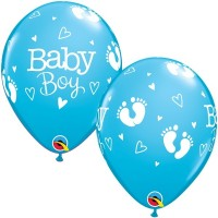 "BABY BOY FOOTPRINTS & HEARTS 11"" ROBIN'S EGG BLUE (25CT)"