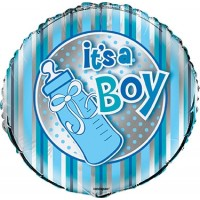 "It's A Boy - Blue and Silver 18"" Foil Balloon"