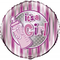 "It's A Girl - Pink and Silver 18"" Foil Balloon"