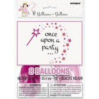 "Once Upon A Party - Princess Unicorn - Latex 12"" Printed 1 Side 8CT"