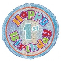 "Happy 1st Birthday Prismatic 18"" Foil Balloon"