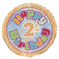 "Happy 2nd Birthday Prismatic 18"" Foil Balloon"