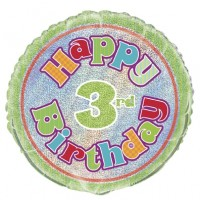 "Happy 3rd Birthday Prismatic 18"" Foil Balloon"