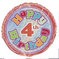 "Happy 4th Birthday Prismatic 18"" Foil Balloon"