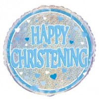 "Happy Christening Blue - 18"" Foil Balloon"