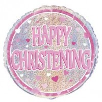 "Happy Christening Pink - 18"" Foil Balloon"