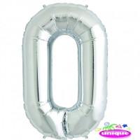 "14"" Silver Numeral 0 Foil Balloon"