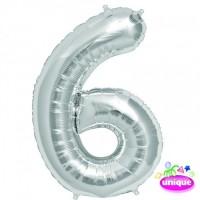 "14"" Silver Numeral 6 Foil Balloon"