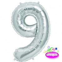 "14"" Silver Numeral 9 Foil Balloon"