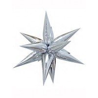 Large Silver 3D Starburst Balloon 100cm.