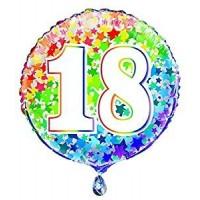 """Age 18 - Rainbow Stars - 18"""" Foil Balloon"""
