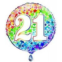 """Age 21 - Rainbow Stars - 18"""" Foil Balloon"""