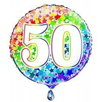 """Age 50 - Rainbow Stars - 18"""" Foil Balloon"""