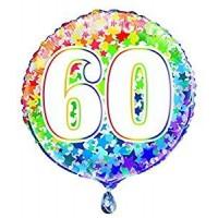 """Age 60 - Rainbow Stars - 18"""" Foil Balloon"""