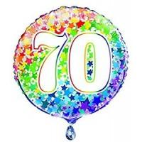 """Age 70 - Rainbow Stars - 18"""" Foil Balloon"""