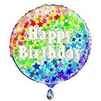 "Happy Birthday Coloured Stars 18"" Foil Balloon"