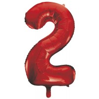 "34"" Red Number 2 Foil Balloon"