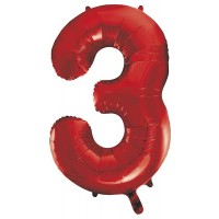 "34"" Red Number 3 Foil Balloon"