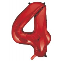 "34"" Red Number 4 Foil Balloon"