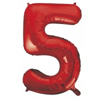 "34"" Red Number 5 Foil Balloon"