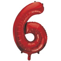 "34"" Red Number 6 Foil Balloon"