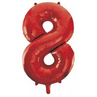 "34"" Red Number 8 Foil Balloon"