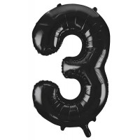 "34"" Black Number 3 foil balloon"