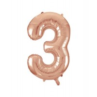 "34"" Rose Gold Number 3 foil balloon"