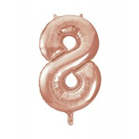 "34"" Rose Gold Number 8 foil balloon"